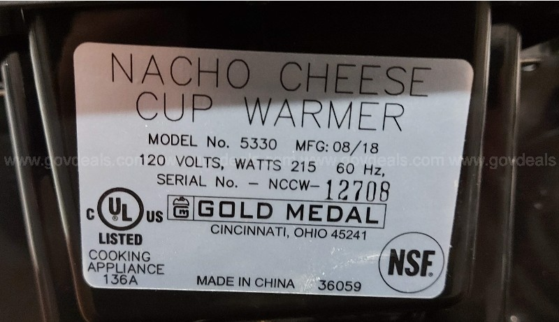 Nacho Cheese Cup Warmer, Gold Metal 5330